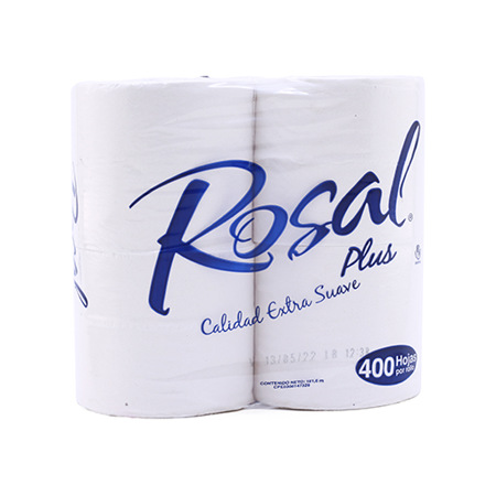 Imagen de Papel Higiénico Plus Azul Rosal 400 hojas (4 unidades).